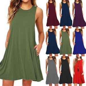 sleeveless pocket summer mini dress